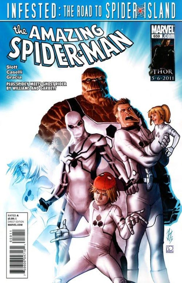Photo - The Amazing Spider-Man worked with the FF after the supposed death of Johnny Storm, when the team was known as
