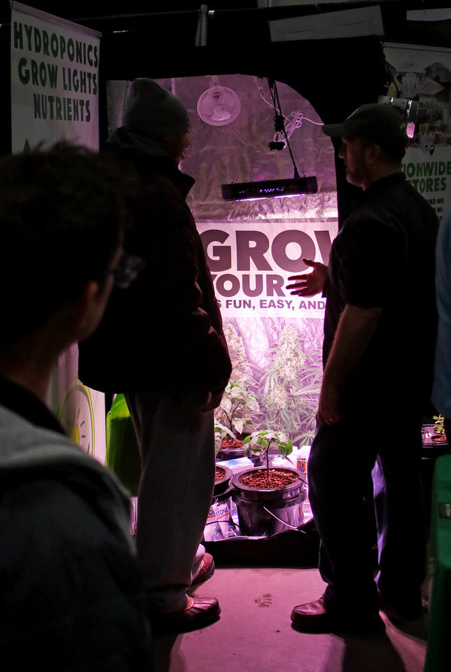 Photo - A pop up grow tent at the Green Grow Expo at State Fair Park, Saturday, March 2, 2019.  Photo by Doug Hoke, The Oklahoman