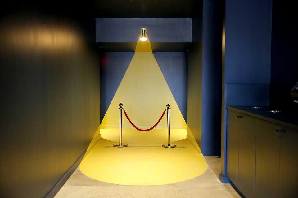 Photo -  The entry to the two theaters at Banquet Cinema reflects the influence of Wes Anderson movies such as