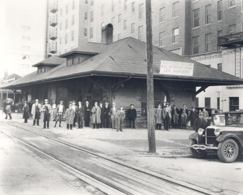 Photo -  The Rock Island Station, built on the Skirvin Hotel's north side, is pictured in 1930 just before its demolition. [OKLAHOMA HISTORICAL SOCIETY]