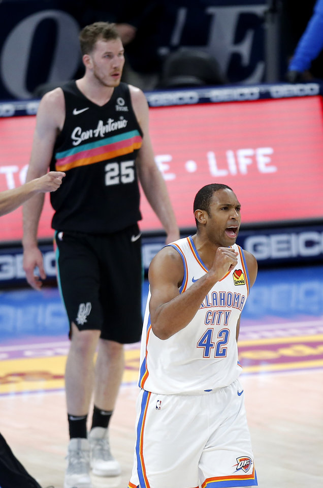 Photo - Oklahoma City's Al Horford (42) celebrates a San Antonio turnover in fourth quarter of the NBA basketball game between the Oklahoma City Thunder and the San San Antonio Spurs at the Chesapeake Energy Arena, Wednesday, Feb. 24, 2021. [Sarah Phipps/The Oklahoman]