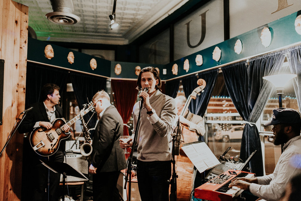 Photo -  Christian Pearson, center, studied jazz and music theory at the University of Oklahoma and performed with the Pride of Oklahoma and the OU Jazz Ensemble. [Photo provided by J. Gwyn Rainey]