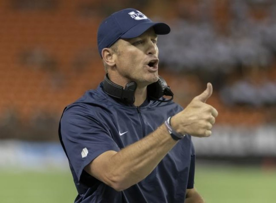 Photo -  Matt Wells, seen here last season, spent the past six years at Utah State. He led the Aggies to two of their greatest seasons with double-digit wins. Now the head coach at Texas Tech is looking to turn around a Red Raider program that hasn't had a winning season since 2015. [AP PHOTO]