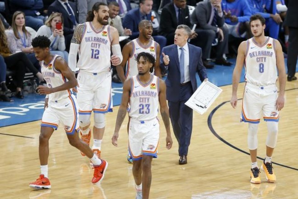 Photo -  Oklahoma City coach Billy Donovan talks with Oklahoma City's Steven Adams (12) and Chris Paul (3) after a timeout in an NBA basketball game between the Oklahoma City Thunder and the Orlando Magic at Chesapeake Energy Arena in Oklahoma City, Tuesday, Nov. 5, 2019. Oklahoma City won 102-94. [Bryan Terry/The Oklahoman]