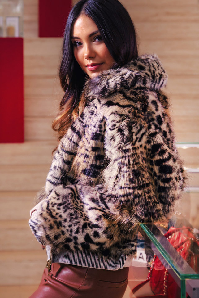 Photo -  Stella McCartney leopard faux fur cropped jacket from Balliets. Model and makeup artist: Adrianna Standfill.   [Photo by Chris Landsberger,  The Oklahoman]