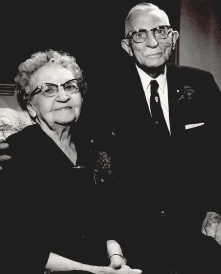Photo -  B.C. Clark and his wife celebrae their 67th wedding anniversary in 1961. [Oklahoma Publishing Company Photography Collection, OHS]