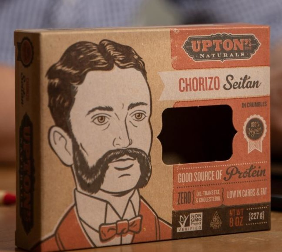 Photo -  Packaging for Upton's Chorizo Seitan. [PROVIDED BY INSTITUTE OF JUSTICE]