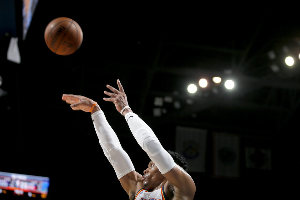 Photo - Oklahoma City's Russell Westbrook (0) attempts a shot during an NBA basketball game between the Oklahoma City Thunder and the Sacramento Kings at Chesapeake Energy Arena in Oklahoma City, Saturday, Feb. 23, 2019. Sacramento won 119-116. Photo by Bryan Terry, The Oklahoman