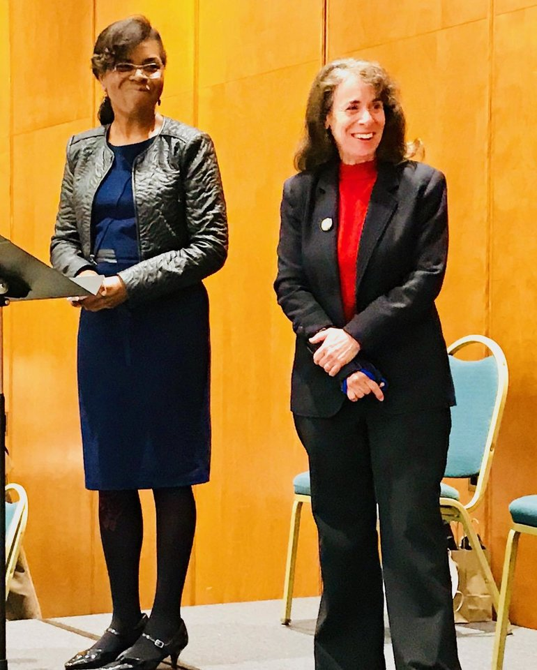 Photo - Ruth Thornton and Jo Ivester speak at the 30th annual NAACP/Jewish Cross Cultural Program on Jan. 14 at Temple B'nai Israel in Oklahoma City. Their presentation was entitled