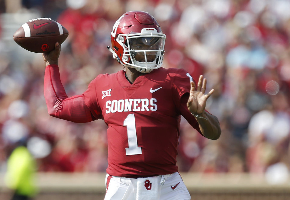 Photo - Oklahoma's Kyler Murray (1) throws a pass during a college football game between the Oklahoma Sooners (OU) and the University of Texas at El Paso Miners (UTEP) at Gaylord Family-Oklahoma Memorial Stadium in Norman, Okla., Saturday, Sept. 2, 2017. Oklahoma won 56-7. Photo by Bryan Terry, The Oklahoman