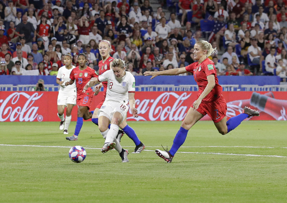 Photo - England's Ellen White scores her side's second goal which was disallowed following a VAR analysis during the Women's World Cup semifinal soccer match between England and the United States, at the Stade de Lyon, outside Lyon, France, Tuesday, July 2, 2019. (AP Photo/Alessandra Tarantino)