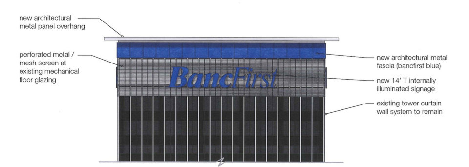 Photo -  A lighted screen backing for the BancFirst logo would be added to the currently dark rooftop of Cotter Ranch Tower if BancFirst completes its purchase of the property which is currently in bankruptcy.