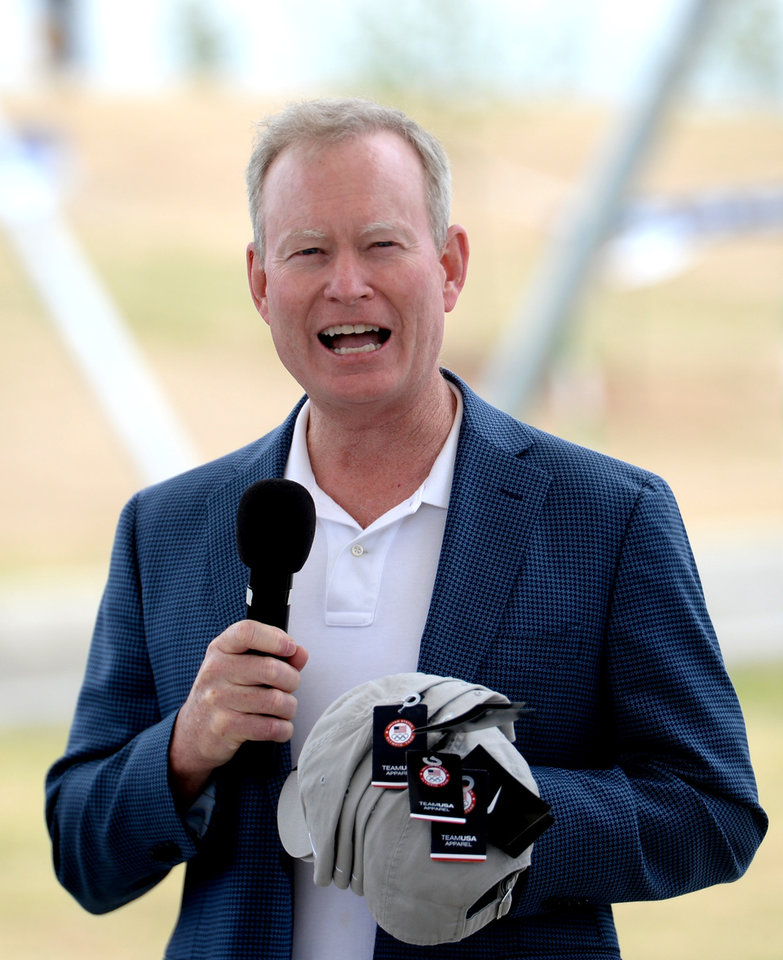 Photo - Mayor Mick Cornett addresses the athletes and the fans about the impact the white water course will make on the community during the canoe/kayak slalom Road to Rio Olympic Trials at Riversport Rapids in Oklahoma City on Sunday May 8, 2016. Jackie Dobson/ for The Oklahoman