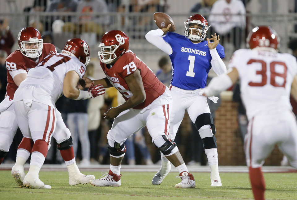 Photo - Oklahoma's Jalen Hurts (1) throws a pass  during the University of Oklahoma's (OU) spring football game at Gaylord Family-Oklahoma Memorial Stadium in Norman, Okla., Friday, April 12, 2019. Photo by Bryan Terry, The Oklahoman