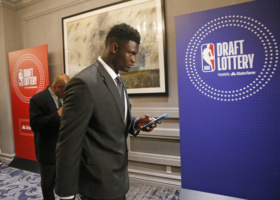 aa12a7924807 Duke s Zion Williamson arrives for the NBA basketball draft lottery  Tuesday