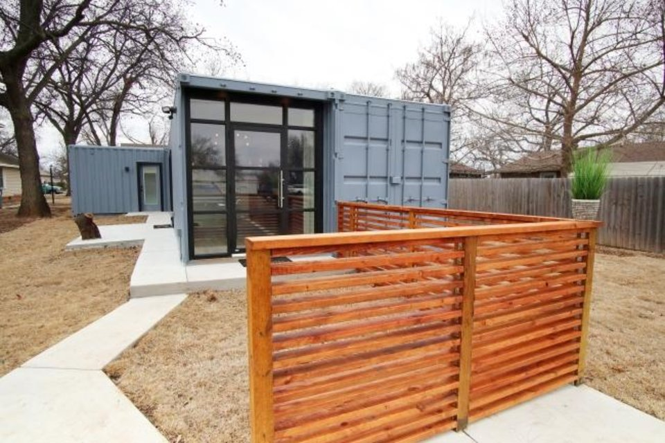 Photo -  Container house at 226 W Hurd in Edmond built by Greg Roberts. [DOUG HOKE/THE OKLAHOMAN]