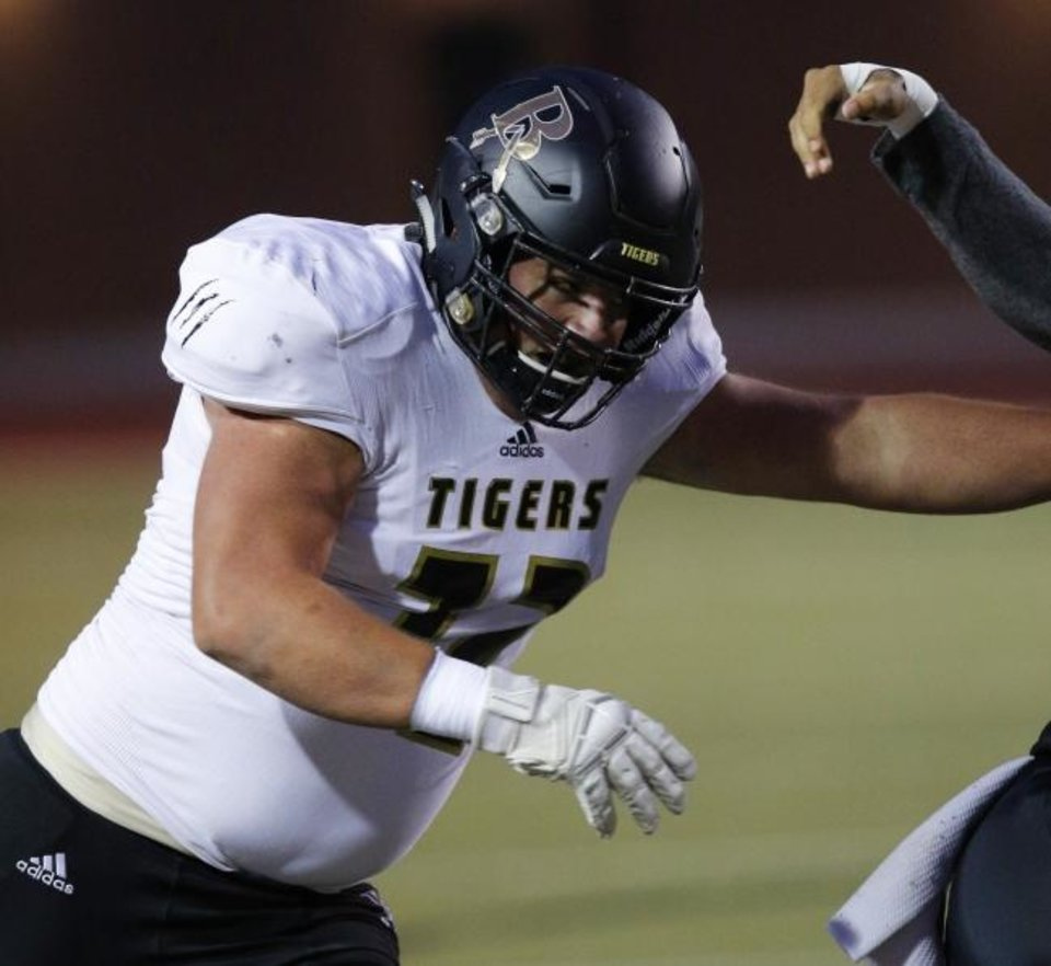 Photo -  Broken Arrow offensive lineman Andrew Raym will sign with Oklahoma on Wednesday. He is the No. 7-rated high school offensive lineman in the country, according to Rivals. [Doug Hoke/The Oklahoman]