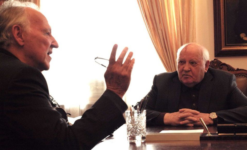 Photo - Filmmaker Werner Herzog, left, and Mikhail Gorbachev appear in the documentary