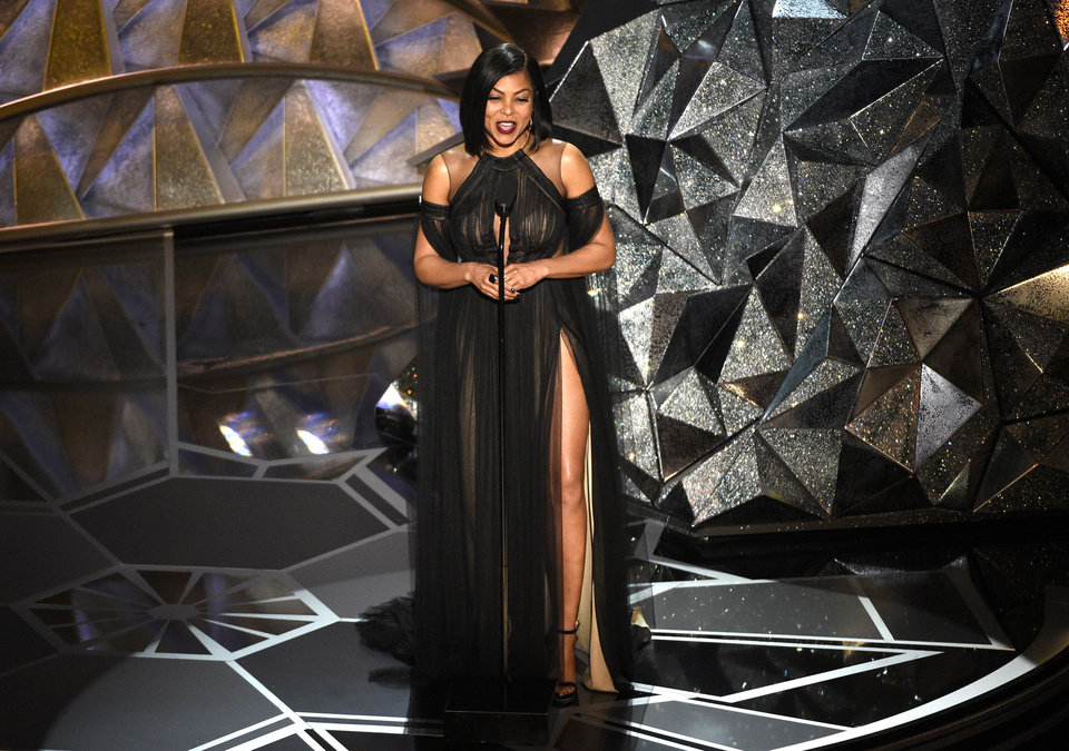 Photo - Taraji P. Henson introduces a performance by Mary. J. Blige at the Oscars on Sunday, March 4, 2018, at the Dolby Theatre in Los Angeles. (Photo by Chris Pizzello/Invision/AP)