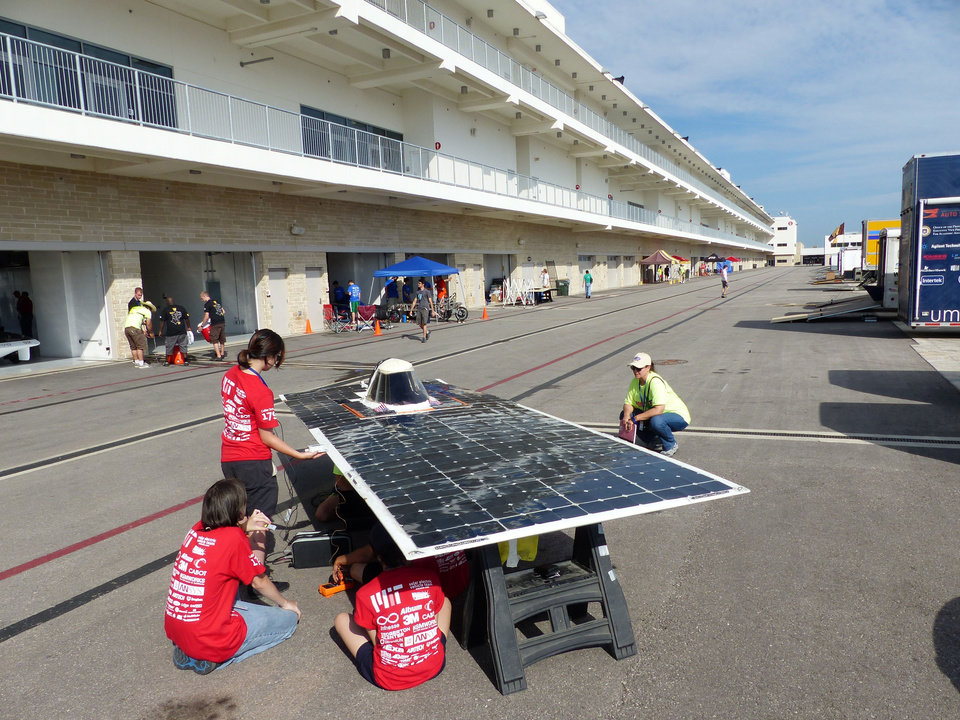 Photo -  Solar car No. 179 from the Massachusetts Institute of Technology goes through the array testing inspection station in preparation for the race. Photos provided   PROVIDED -
