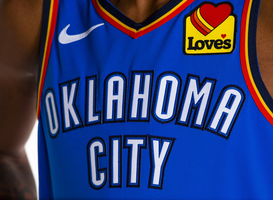 Photo -  The Love's Country Stores logo will be displayed on Oklahoma City Thunder jerseys beginning Saturday. [Provided]