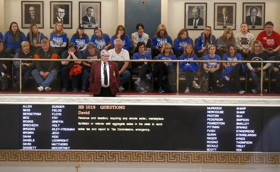 Photo - People fill the gallery in the Senate chamber on the fifth day of a walkout by Oklahoma teachers at the state Capitol in Oklahoma City, Friday, April 6, 2018. Photo by Nate Billings, The Oklahoman