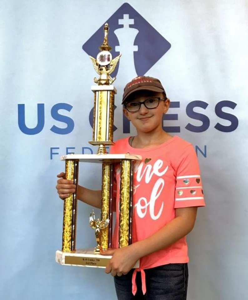 Photo -  Cheyenne Middle School sixth-grader Josie Little took third place out of a field of 323 players in the division for players rated under 750. [PHOTO PROVIDED]