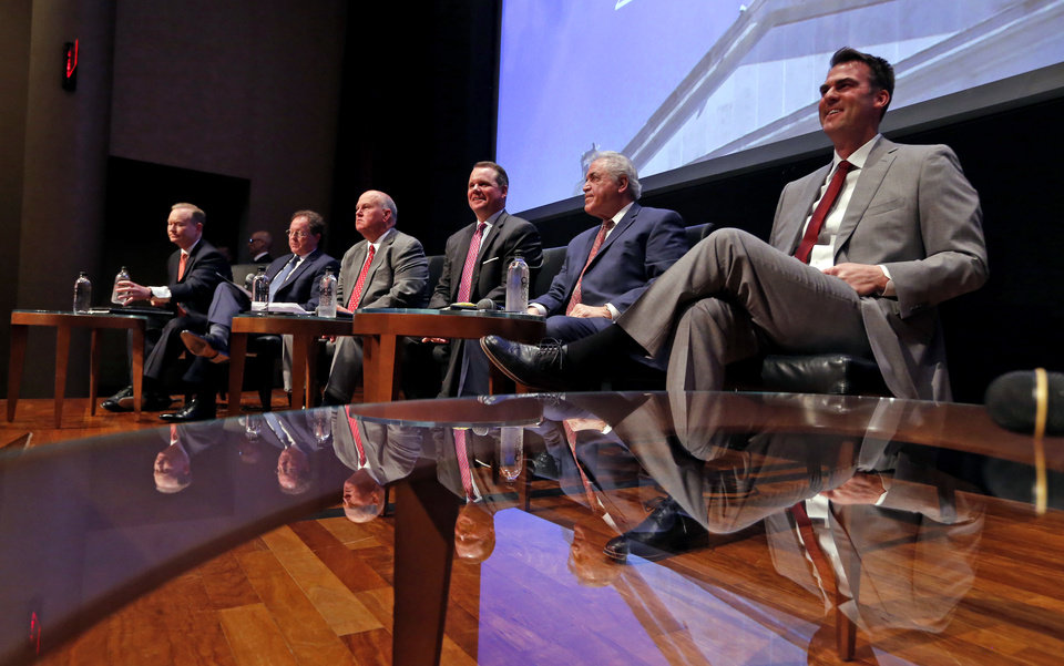 Photo -  Republican gubernatorial candidates Mick Cornett, Dan Fisher, Gary Jones, Todd Lamb, Gary Richardson and Kevin Stitt participate in a forum presented by The Oklahoman for candidates at the Oklahoma City Museum of Art on Monday. [Photo by Steve Sisney, The Oklahoman]