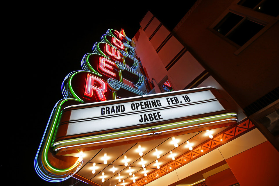 Photo -  The sign outside the Tower Theatre promotes the grand opening concert on Feb. 18. [Photo by Bryan Terry, The Oklahoman Archives]