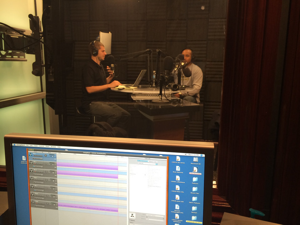 Photo -  Darnell Mayberry and Anthony Slater in Studio C, or the podcast studio, recording this week's Thunder Buddies.