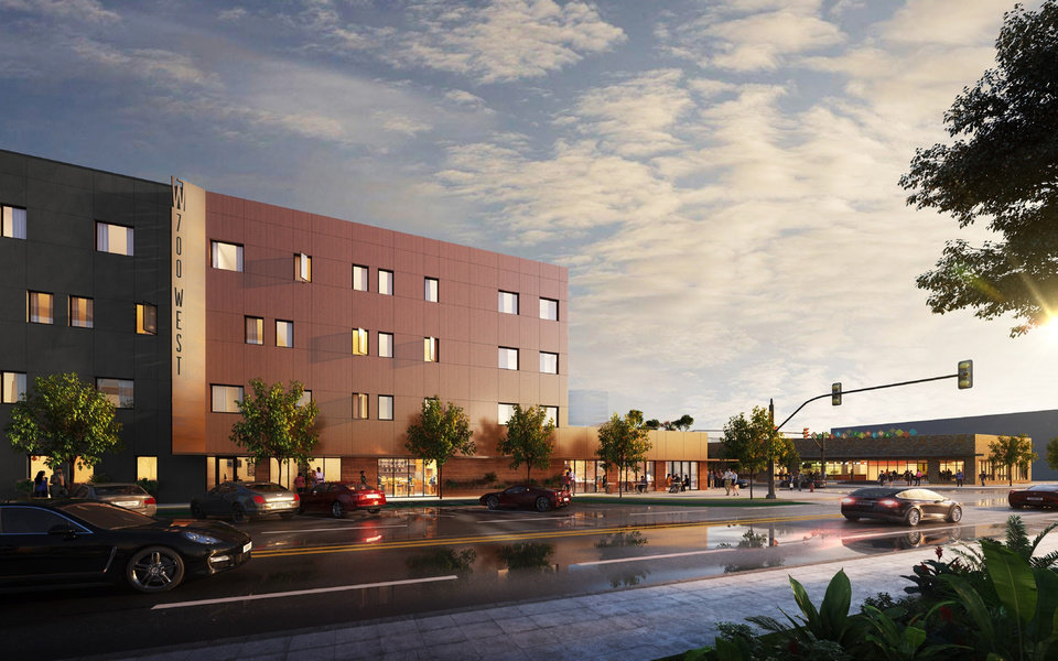 Photo -  The 700 West proposal includes a mix of market and affordable rate apartments, retail and a dog park. [Rendering provided by Gardner Architects]
