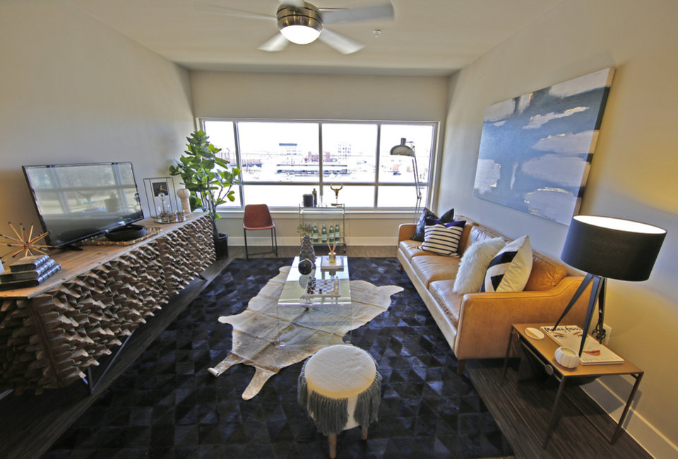 The two bedroom floor plan of the Metropolitan Apartments includes a view  of the downtown skyline   Photo By Steve Gooch  The Oklahoman   Residents moving into Oklahoma City s largest downtown apartment  . Okc Downtown Living. Home Design Ideas