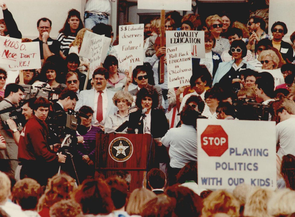 Photo - In 1990, Oklahoma Education Association President Kyle Dahlem addressed hundreds of teachers who picketed the state Capitol in support of House Bill 1017. [Oklahoman Archive Photo]