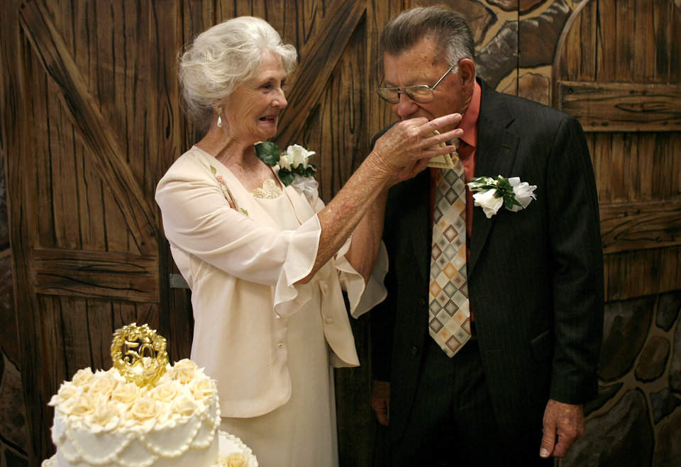 Oklahoma couple s july 4th celebration filled with for Dresses for 50th wedding anniversary party