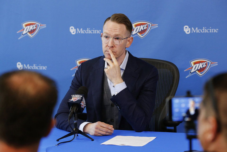 Photo - Sam Presti, general manager of the Oklahoma City Thunder basketball team,  met with members of local media for nearly an hour Monday morning, April 29, 2019, at his annual postseason press conference at the Thunder practice facility. [Jim Beckel/The Oklahoman]