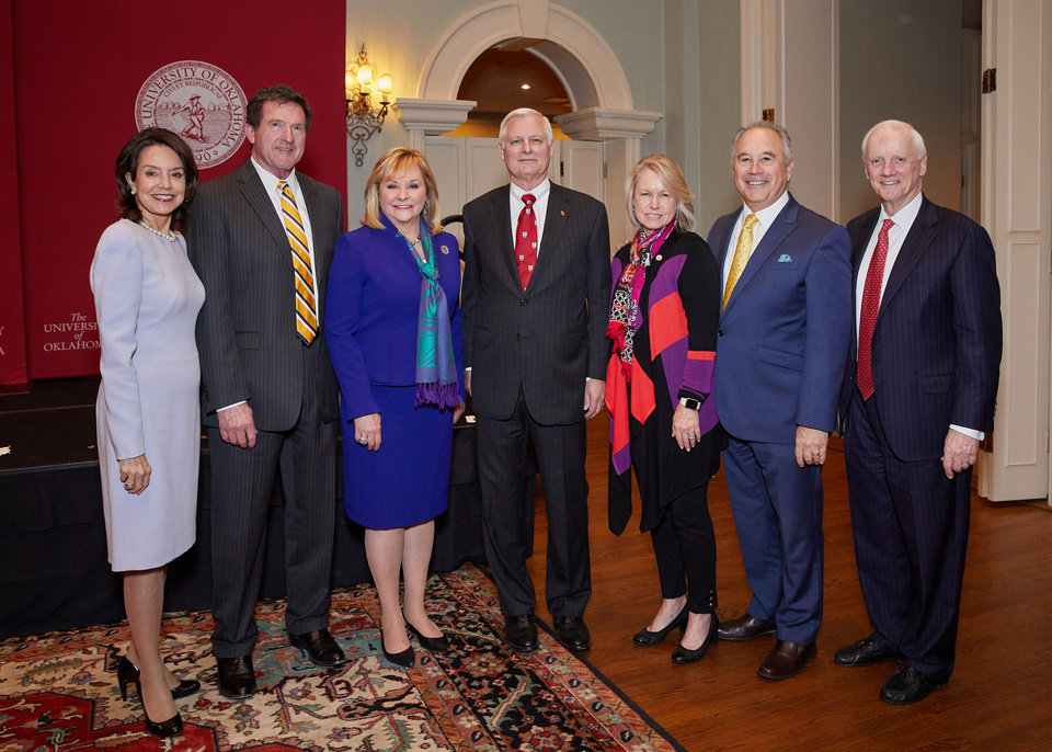 Photo - Cathy Keating, Wade Christensen, Gov. Mary Fallin, President- Designate James Gallogly, Rhonda Walters, David Walters, Frank Keating. PHOTO BY TRAVIS CAPERTON