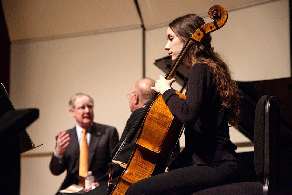 Photo - Burns Hargis and Billie and Ross McKnight announce the $25 million programming endowment for the new McKnight Center for the Performing Arts. OSU music student Bree Ahern plays the cello during the live-streaming of the McKnight Center announcement.  Photo Provided