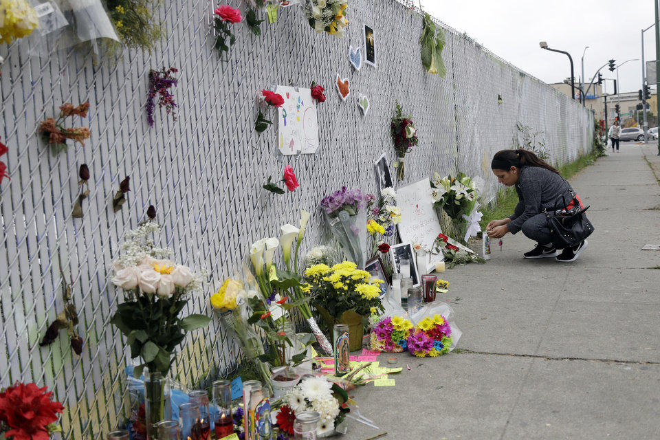 Mourners Create Makeshift Memorial At California Warehouse