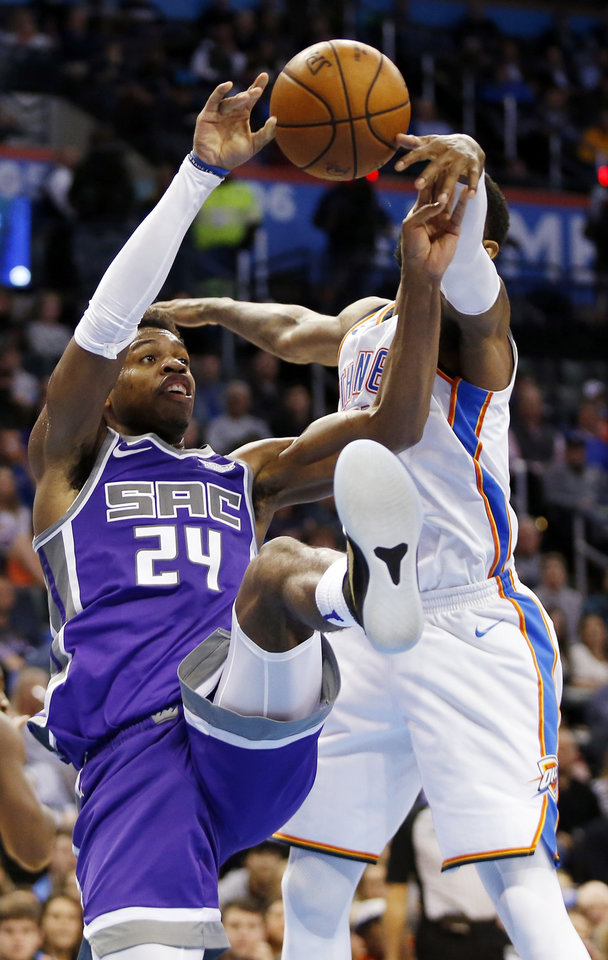 4cdb49624 ... attempt by Sacramento s Buddy Hield (24) in the fourth quarter during  an NBA basketball game between the Oklahoma City Thunder and the Sacramento  Kings ...