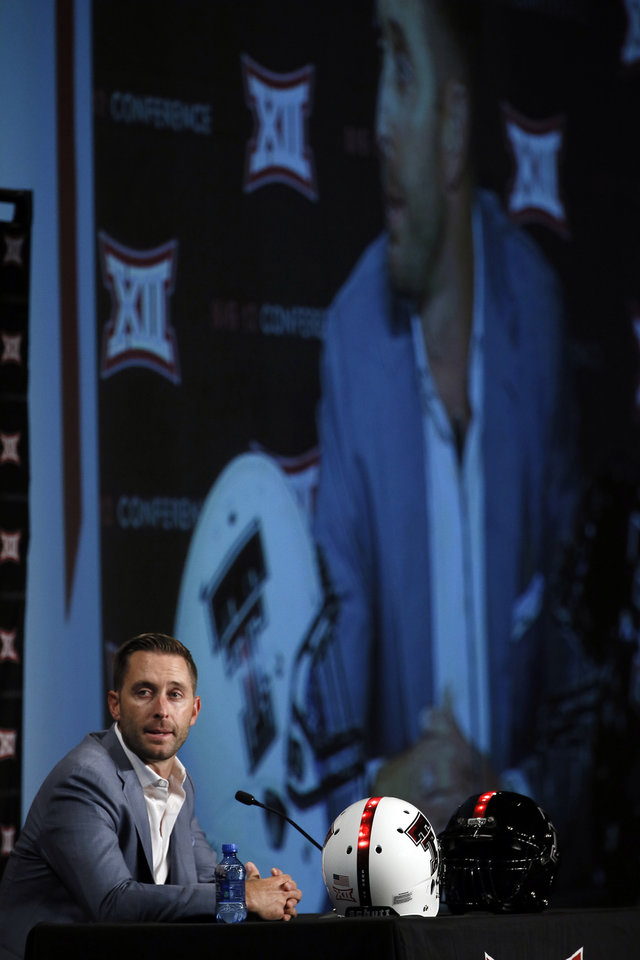 Photo - Texas Tech head football coach Kliff Kingsbury addresses attendees at the NCAA college Big 12 Conference Football Media Days Monday, July 20, 2015, in Dallas. (AP Photo/Tony Gutierrez)