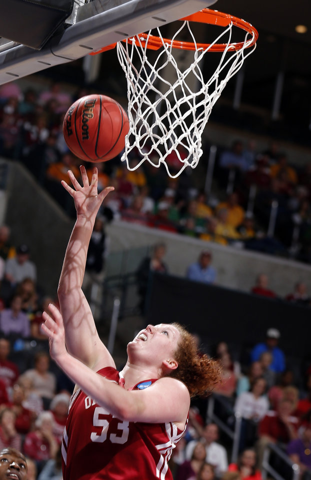 Photo - Oklahoma's Joanna McFarland (53) shoots a lay up during college basketball game between the University of Oklahoma and the University of Tennessee at the  Oklahoma City Regional for the NCAA women's college basketball tournament at Chesapeake Energy Arena in Oklahoma City, Sunday, March 31, 2013. Photo by Sarah Phipps, The Oklahoman