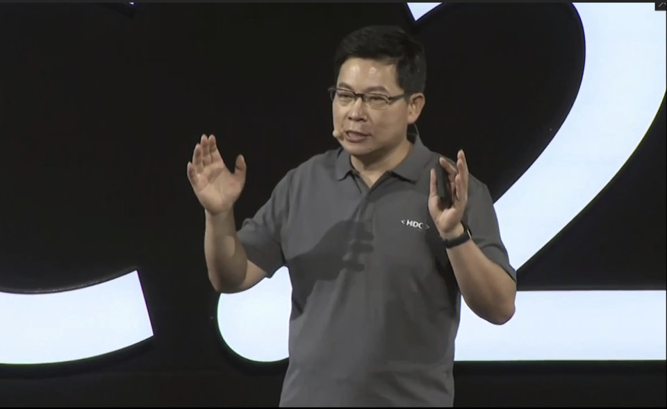 Photo - In this image from video released by Huawei, Richard Yu, CEO of Huawei Consumer Business Group, speaks during a news conference in Dongguan, China, Friday, Aug. 9, 2019. Huawei unveiled a smartphone operating system that it said can replace Google's Android, adding to the Chinese tech giant's efforts to insulate itself against U.S. sanctions. The announcement of HarmonyOS highlights the growing ability of Huawei, the No. 2 global smartphone brand and biggest maker of network gear for phone carriers, to create technology and reduce its reliance on American vendors. (Huawei via AP)