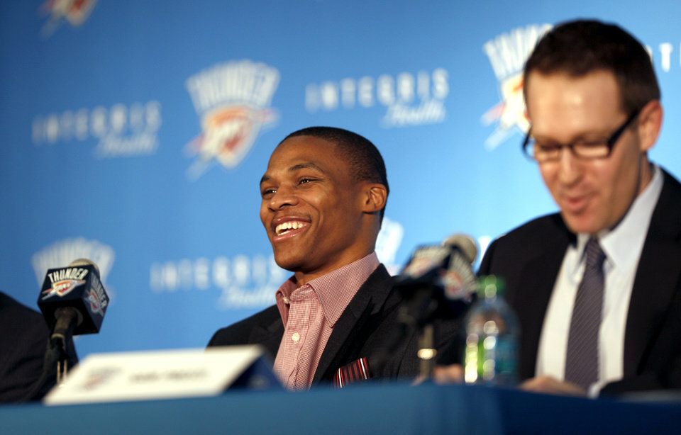 Photo -  Russell Westbrook and Sam Presti address the media during a 2012 news conference. [Photo by Sarah Phipps, The Oklahoman archives]