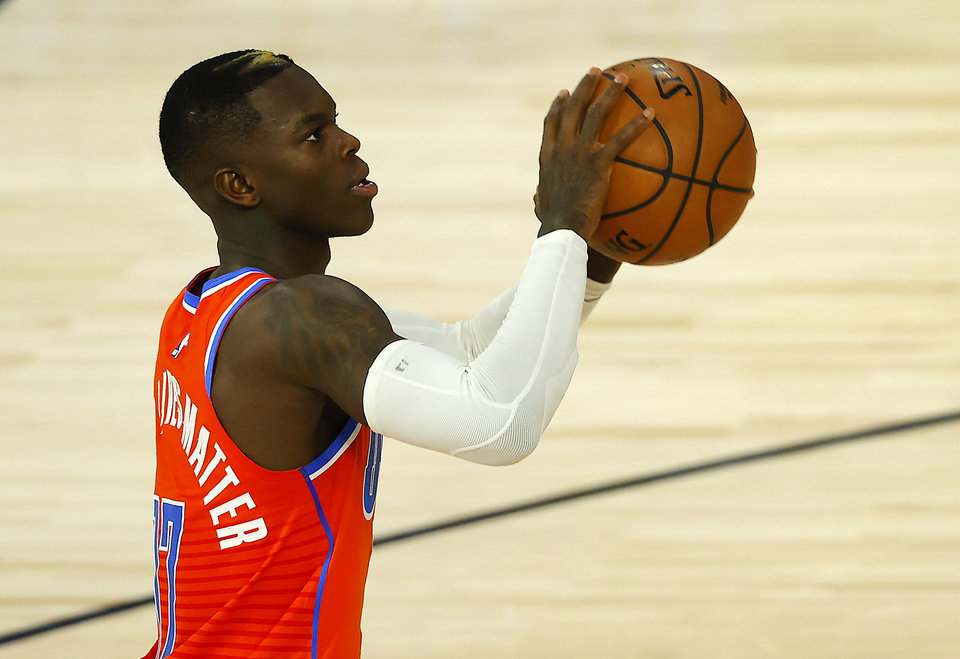 Photo - Aug 14, 2020; Lake Buena Vista, Florida, USA; Dennis Schroder #17 of the Oklahoma City Thunder handles the ball during the first quarter against the LA Clippers at The Field House at ESPN Wide World of Sports Complex. Mandatory Credit: Mike Ehrmann/Pool Photo-USA TODAY Sports