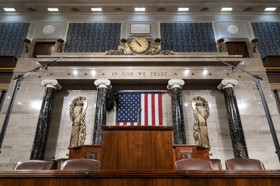 Photo -  The chamber of the House of Representatives is seen at the Capitol in Washington, Monday, Feb. 3, 2020, as it is prepared for President Donald Trump to give his State of the Union address Tuesday night.  (AP Photo/J. Scott Applewhite)