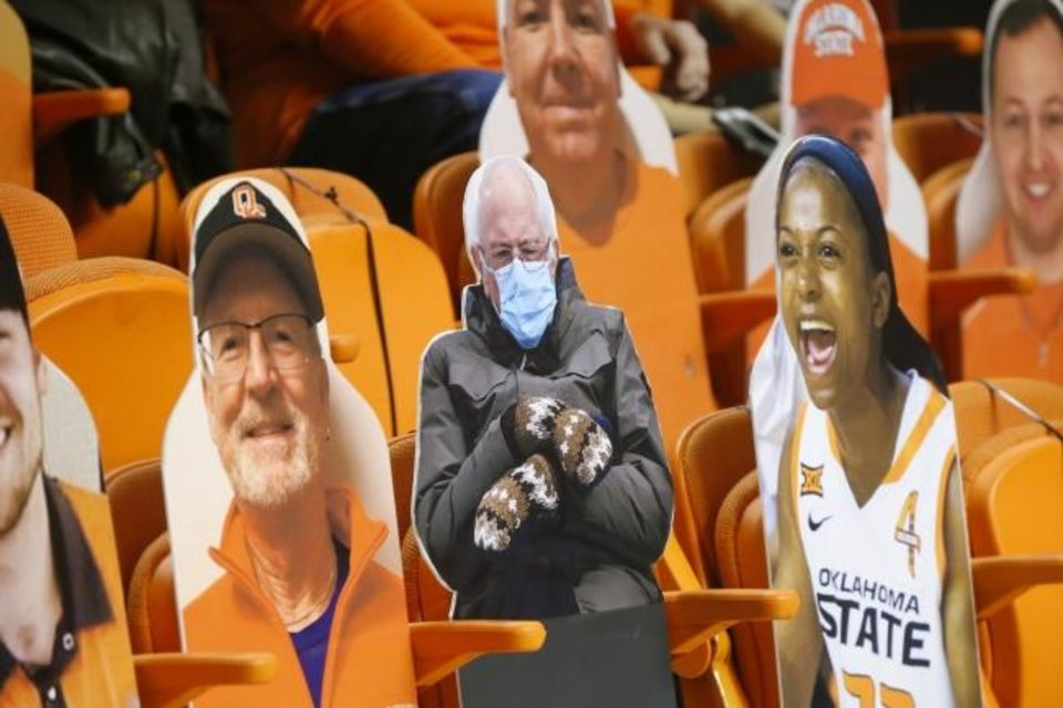 Photo -  A Bernie Sanders cutout is seen during Saturday's OSU-Baylor game in Stillwater. [Bryan Terry/The Oklahoman]