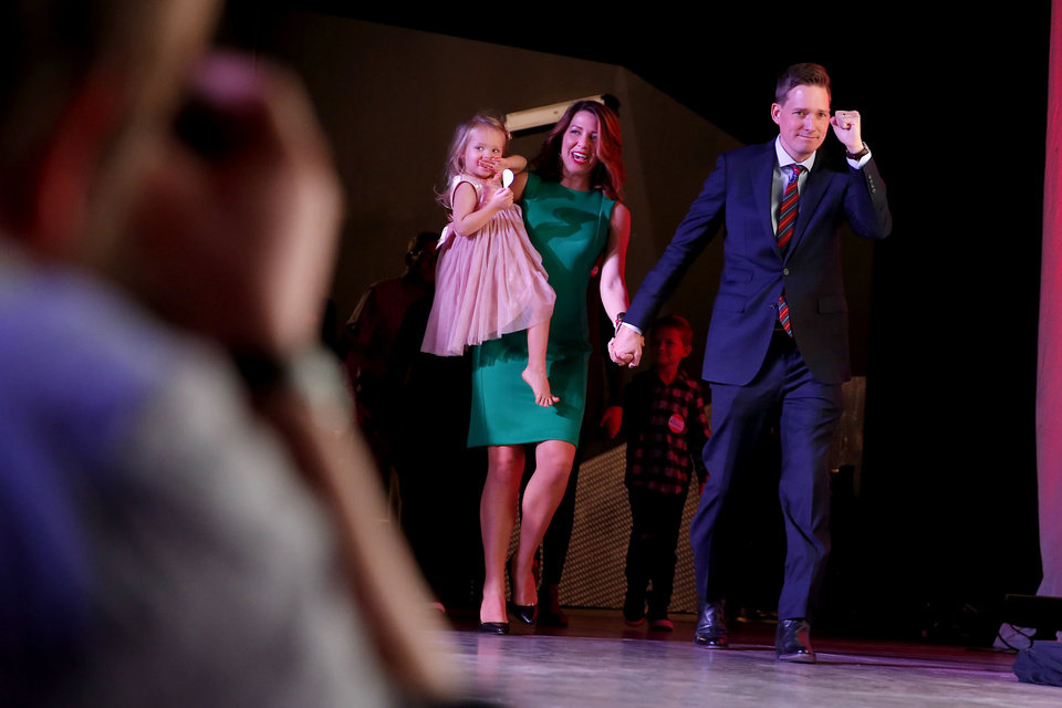 Photo - Matt Pinnell takes the stage after wining the race for lieutenant governor during the Republican election night watch party for the 2018 elections at the Bricktown Events Center in Oklahoma City, Nov. 6, 2018. Photo by Bryan Terry, The Oklahoman
