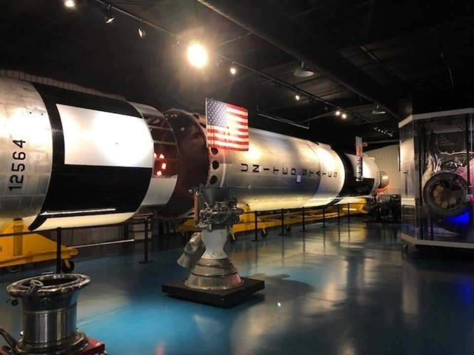 Photo -  The Titan II rocket, which served two important purposes for the United States. It originally was developed by the Air Force as an Intercontinental Ballistic Missile (ICBM) with the capability of carrying large nuclear warheads. NASA then determined that it would be the perfect booster to launch its Gemini manned spacecraft. Thomas Stafford rode two of these rockets into space aboard his Gemini 6 and 9 missions in 1965 and 1966. This is one of the few actual Titan II missiles still in existence. [Provided/Oklahoma Tourism & Recreation Department]