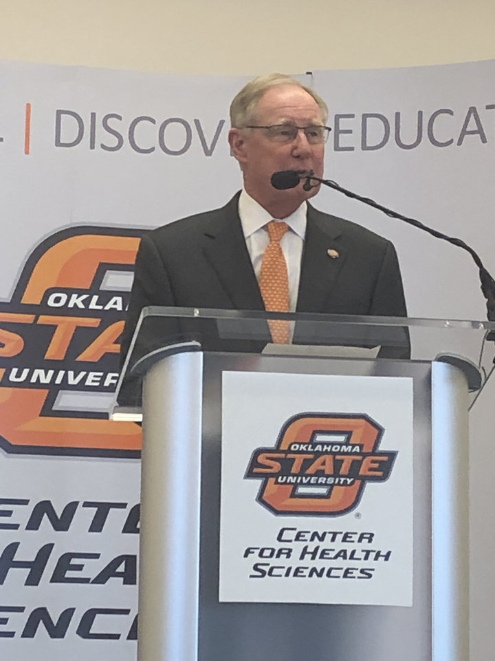 Photo - Oklahoma State University Burns Hargis talks about the $200 million to establish an endowment for OSU's Center for Wellness and Recovery, part of the state's $270 million settlement with Purdue Pharma.