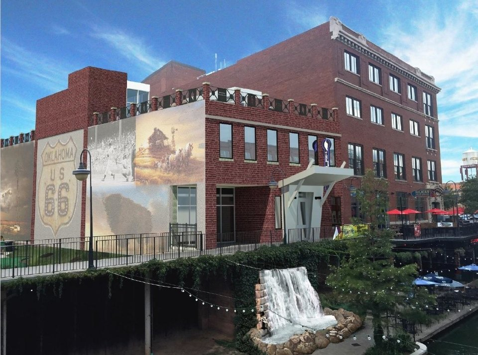 Photo -  As late as last September, representatives of Steve Down and The Falls were attempting to get approval for redevelopment of a long-abandoned warehouse along the Bricktown Canal into an event center that would include a waterfall and rooftop patio. [Rendering provided]